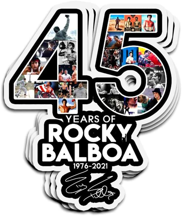 Jarky Love 3 PCs Stickers 45 Years of Rocky Balboa 1976-2021 with Signature Thank You for The Memories 4 × 3 Inch Die-Cut Decals for Laptop Window
