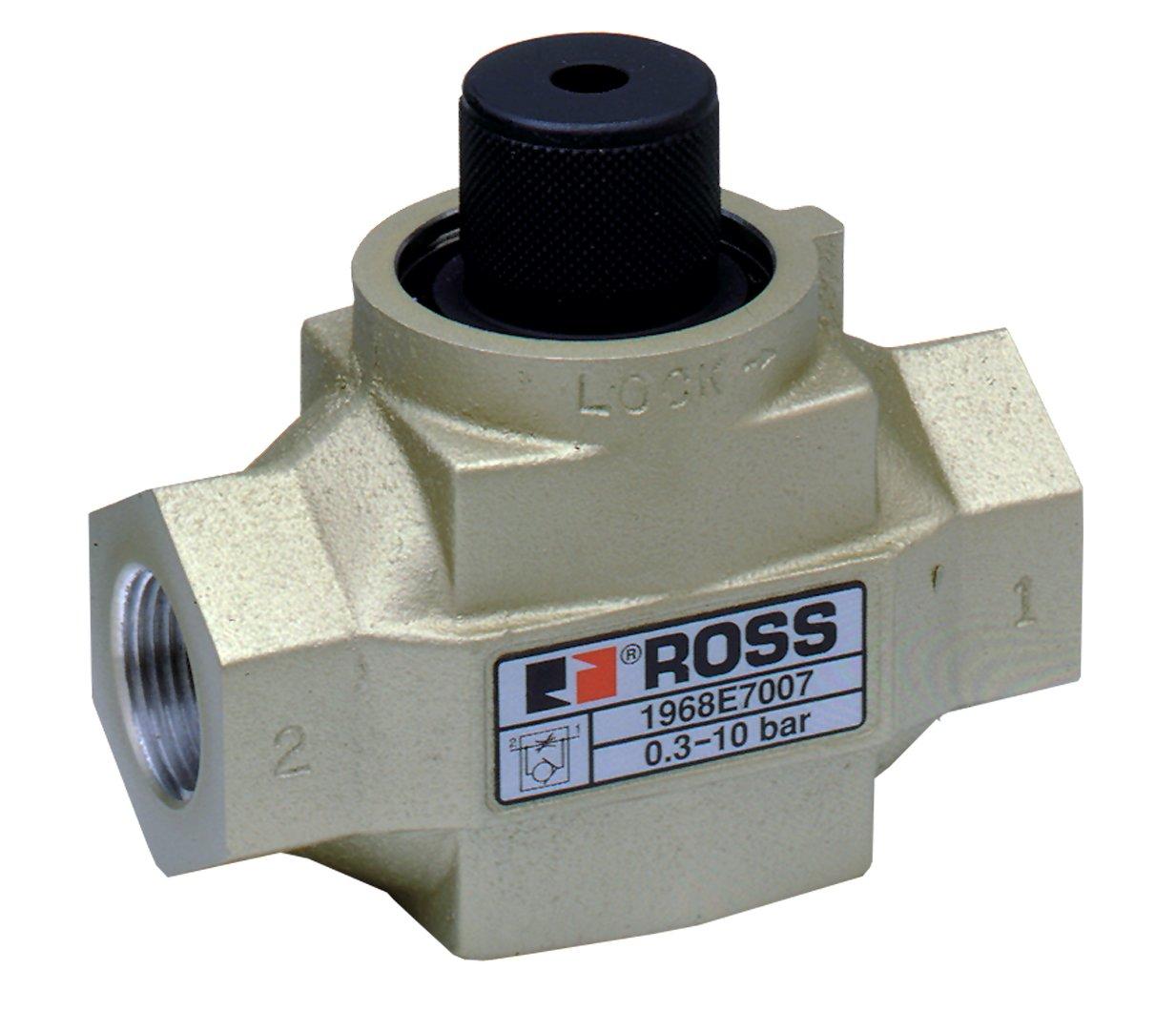 NPT Standard Profile Knob Adjustment Ross Controls 1968A2018 19 Series Flow Control Valve Port 2 Threaded 1//4 Standard Capacity Right Angle Port 1 Threaded 1//4