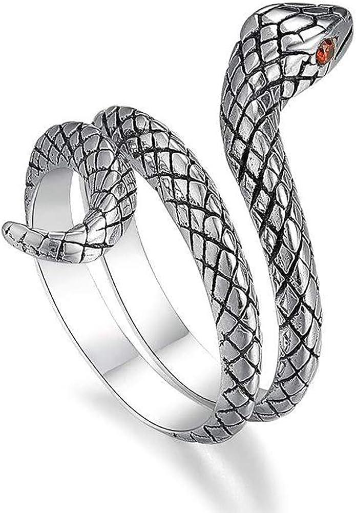 YiGo 1PC Abierto Serpiente de la Vendimia Anillos Sencillos Retro de Plata Plateado Serpiente Animal Anillos de Dedo gótico Punky Dedo de la joyería para Las Mujeres niñas (Plata Antigua)