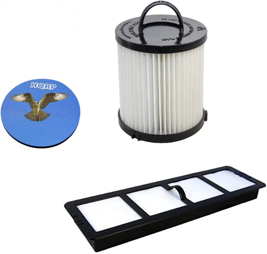 HQRP Washable Dust Cup HEPA Filter and Exhaust Filter for Eureka Upright Vac DCF-21 /68931 / 68931A, EF-6/69963 / 83091-1 Replacement Coaster