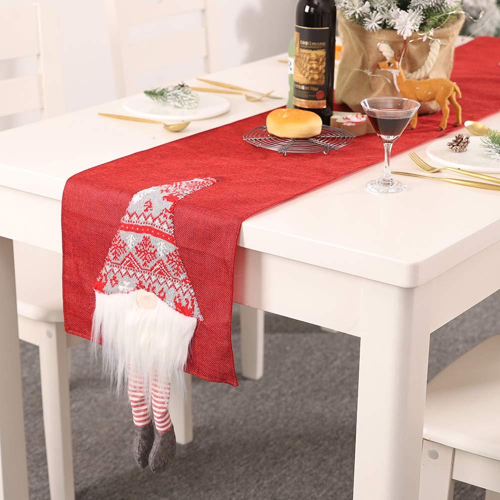 Lurowo Drapeau de Table de Noel Chemin de Table Noel Table Runner avec Poup/ée sans Visage D/îner de No/ël Nappe D/écoration Impression Table Gris
