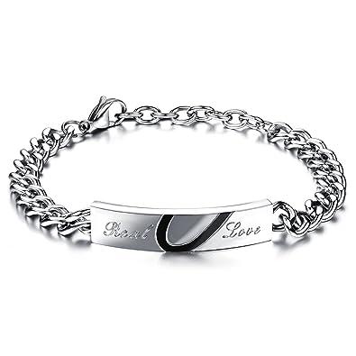JewelryWe Bijoux Real Love Bracelet Homme Amour d\u0027Amitie Cadeau Saint  Valentin Puzzle Coeur Amoureux Couple Acier Inoxydable Fantaisie pour Homme