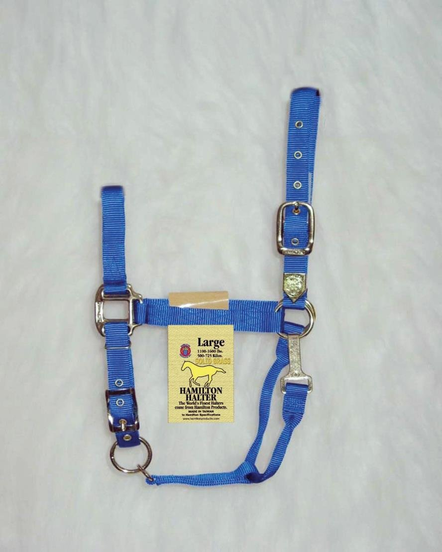 ADJUSTABLE CHIN HORSE HALTER WITH SNAP - LARGE - BLUE