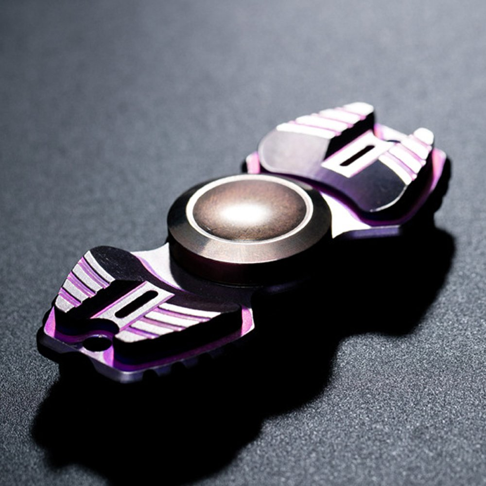 FREELOVE Armed Shark Armor Warrior Fidget Spinner Toy Stress Reducer Premium EDC Disassembly With Premium R188 Ceramic Bearing Helps Focus, Stress, Anxiety, ADHD, Boredom. (Titanium Alloy, Purple)