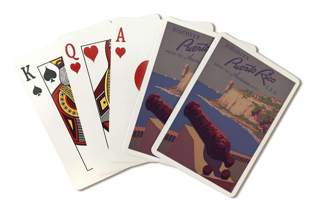 Puerto Rico, USA - Vintage Travel Advertisement (Playing Card Deck - 52 Card Poker Size with Jokers)