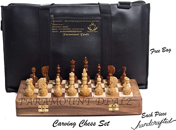 Paramount Dealz Hand Crafted Carving Chess Set with 14 inches Foldable Sheesham Board, 3.5 Pieces & Chess Bag - Best for Gifting & Home Decor (14 Inches Foldable Wooden Board with Pieces)