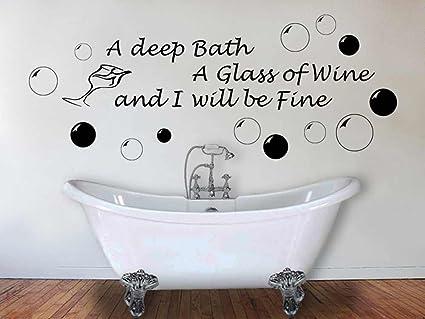 Amazon.com: 43SabrinaGill Bathroom Wall Sticker Quote Deep Bath ...