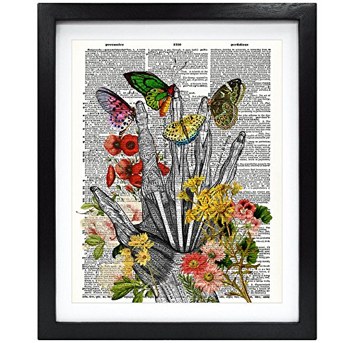 Susie Arts 8X10 Unframed Take my hand human Anatomy Upcycled Dictionary Art Print Flowery hand and Butterflies Book Art Print Home Decor Funny Art Print V115