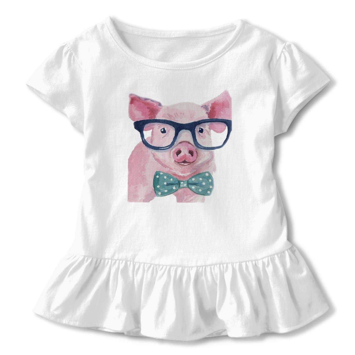 Watercolor Pig with Sunglass and Bow Tie Toddler Baby Girls Short Sleeve Ruffle T-Shirt