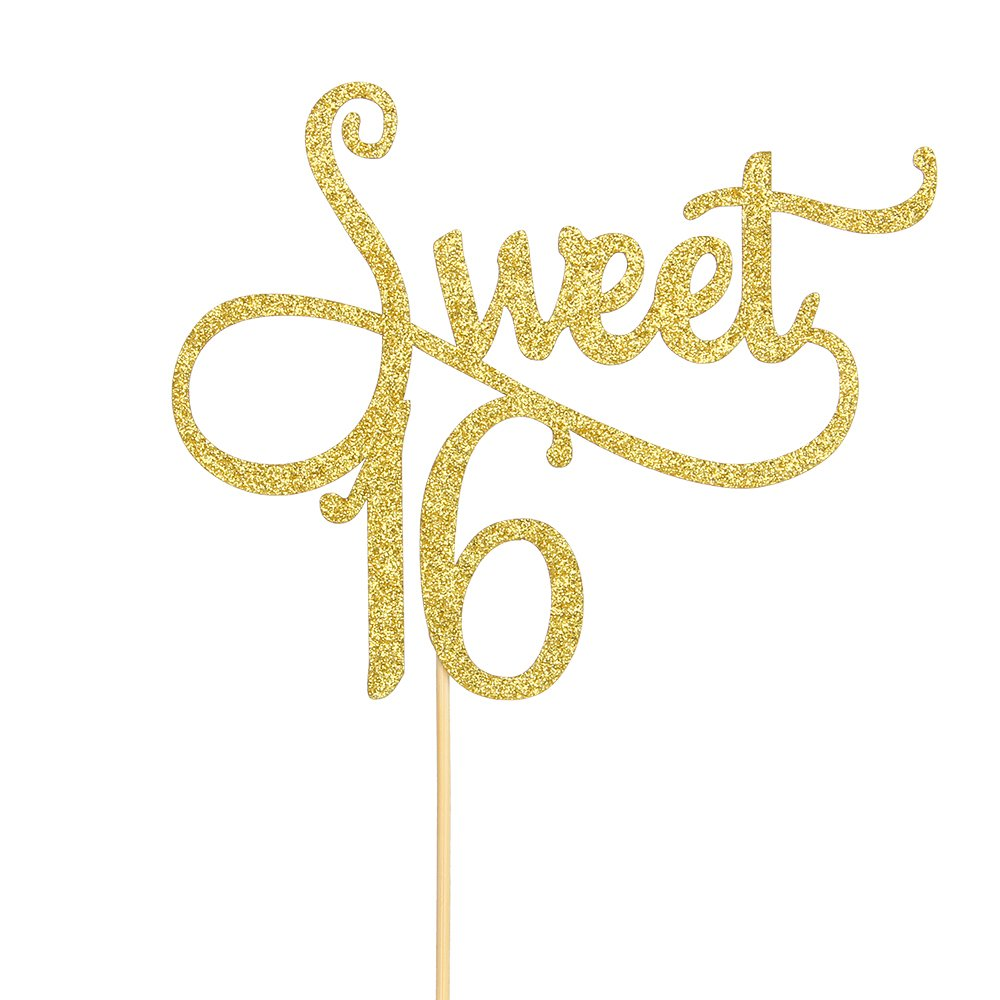 Gold Sweet 16 Cake Topper - Happy 16th Birthday Party Decoration Supplies - Sweet Sixteen Cake Toppers WeBenison