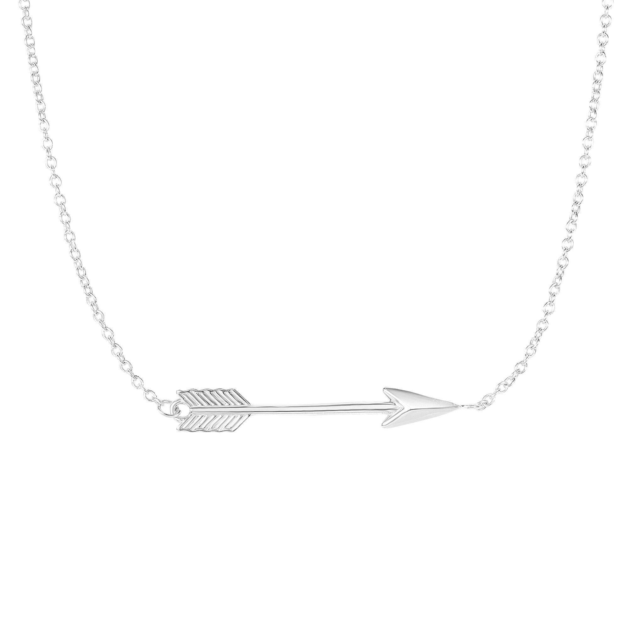 MCS Jewelry 14 Karat Yellow or White Gold Classic Love Arrow Horizontal Womens Pendant Necklace (17''-18'''' (18, white-gold)