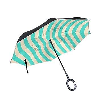 BENNIGIRY Paraguas invertido de Doble Capa con Anillos concentrados, Color Marrón, Azul, para