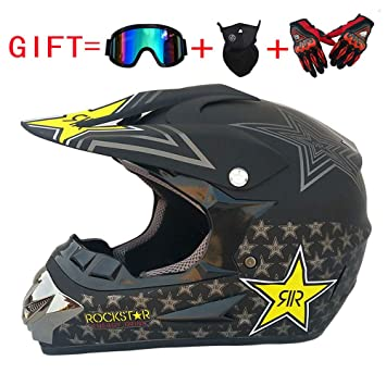 Adulto Motocross Casco MX Moto Casco ATV Scooter ATV Casco D. O. T Certificado Rockstar Gafas Máscara