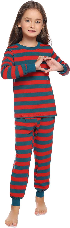 Hawiton Pijama para Ni/ñas,2 Piezas Set Raya Manga Larga Algod/ón Set Ropa de Dormir para Ni/ños Edades 7-14 a/ños Ajustado Ce/ñido Camisones