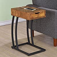 1PerfectChoice Accent Snack Side Chairside Table Stand Drawer Outlet Charge Wood Antique Nutmeg