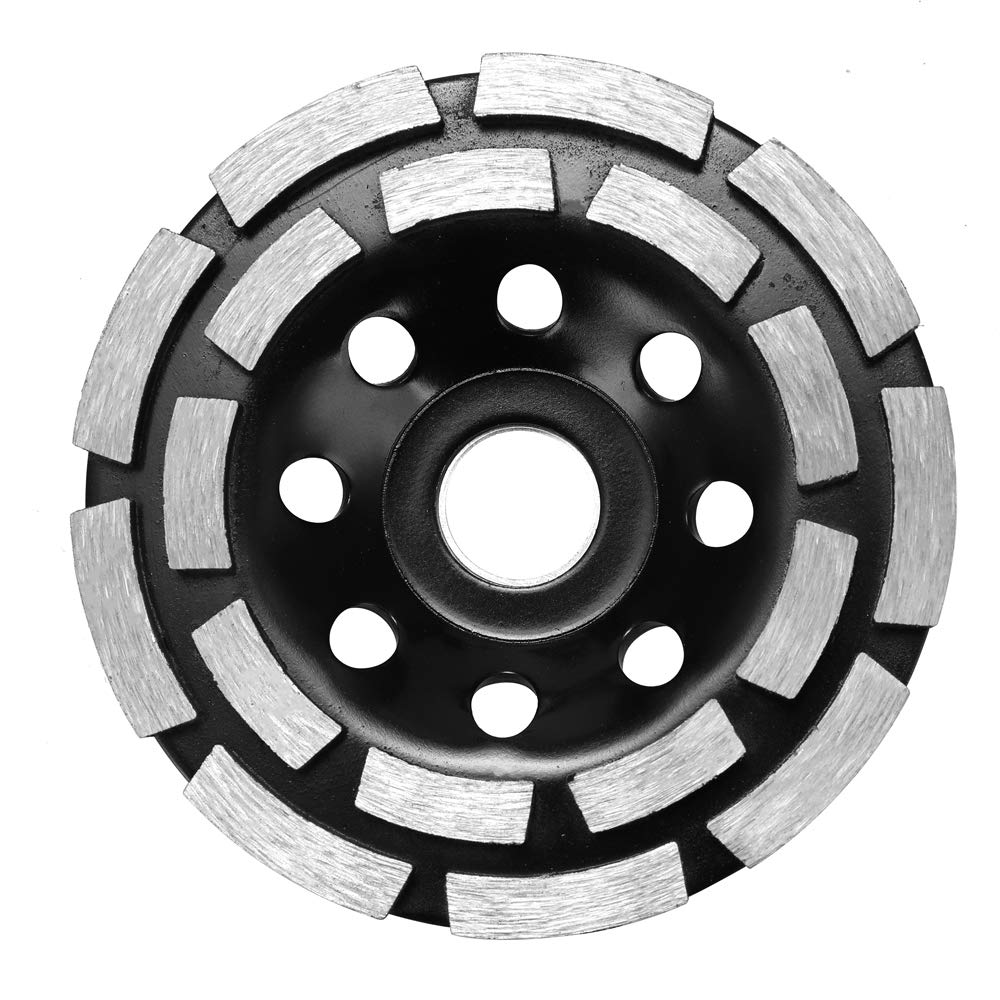 Double Row Diamond Cup Grinding Wheel,KKmoon Diamond Grinding Disc Abrasives Concrete Tools Consumables Diamond Grinder Wheel Metalworking Cutting Masonry Wheels Cup Saw Blade (180mm)