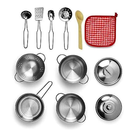 Juego de ollas y sartenes de cocina, juego de teepao para niños con acero inoxidable, juego de utensilios de cocina, juguetes pretendidos para niños