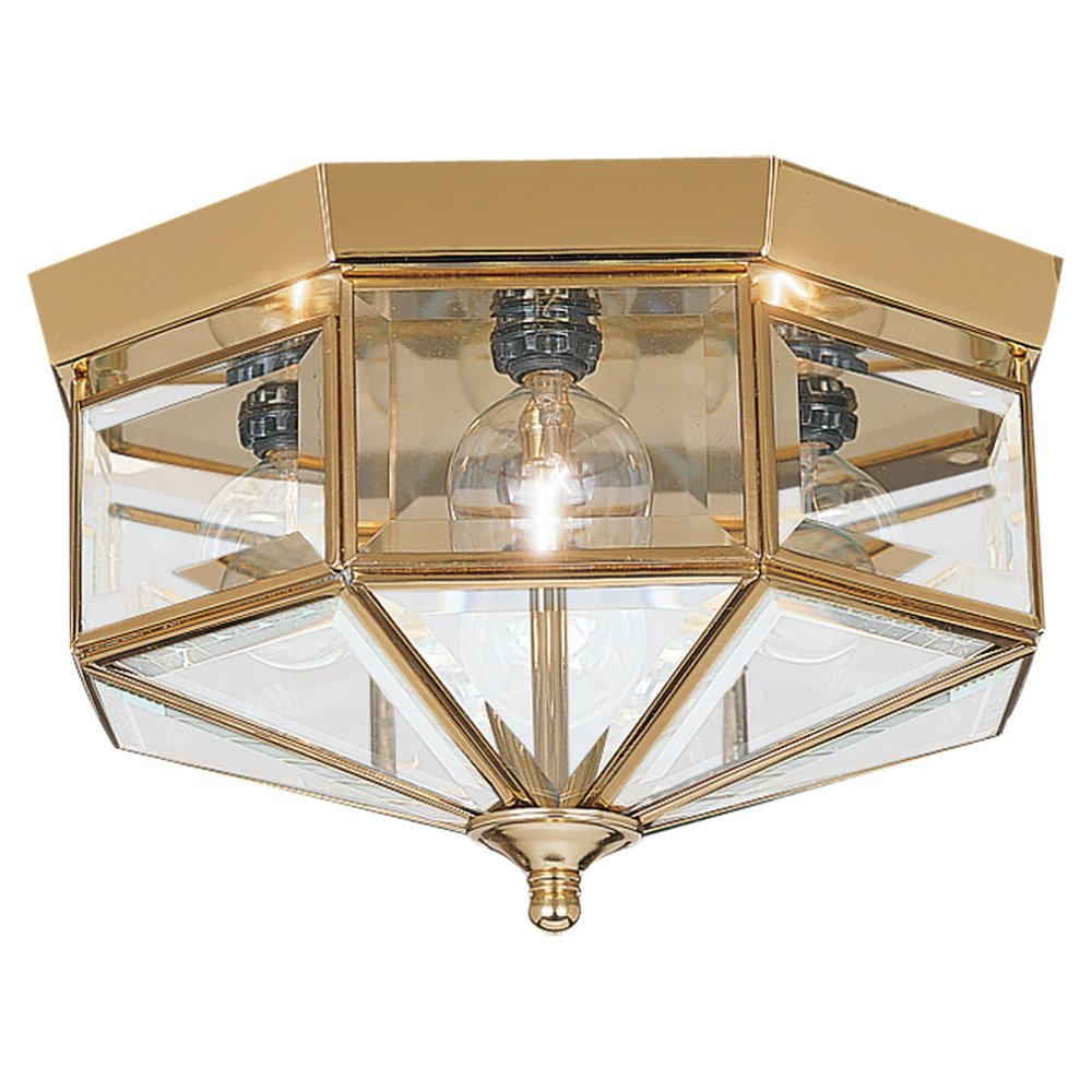 Sea gull lighting 7662 02 4 light hall and foyer ceiling fixture sea gull lighting 7662 02 4 light hall and foyer ceiling fixture clear beveled glass panels and polished brass flush mount ceiling light fixtures aloadofball Image collections