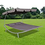 Anself Outdoor Double Sun Bed with Canopy and 2 Pillows Brown