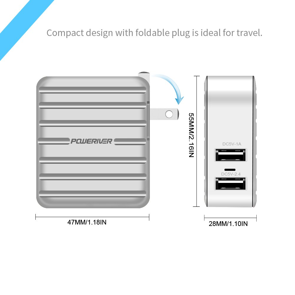 Wall Charger, POWERIVER USB Travel Wall Charger Portable Charger Dual Port USB Charger, Foldable Plug for iPhone iPad, Samsung Galaxy, HTC Nexus Moto Blackberry, Bluetooth Speaker Headset (Silver)