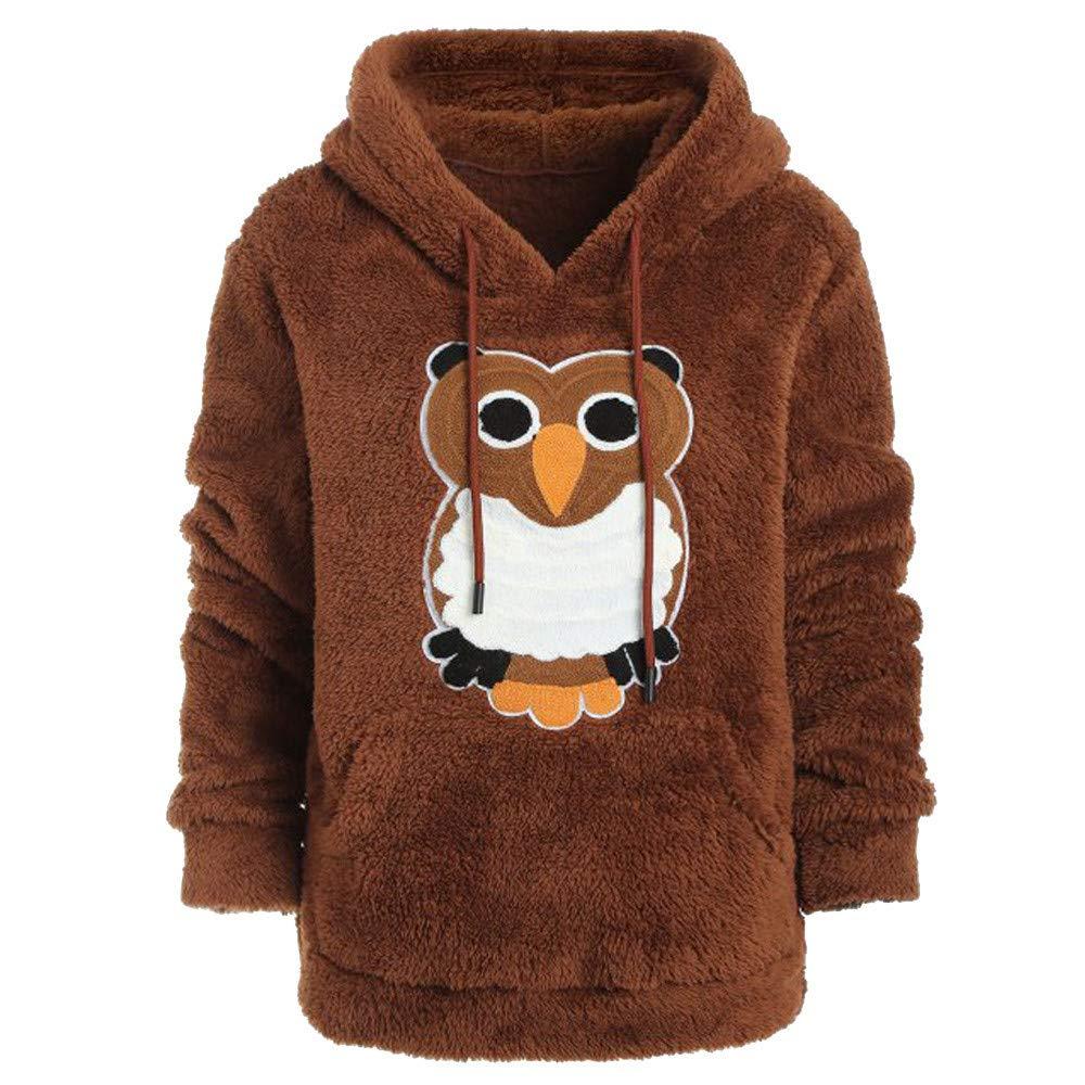 Women Winter Long Sleeve Owl Hooded Sweatshirt Pullover Blouse Top Jiayit Hoodies