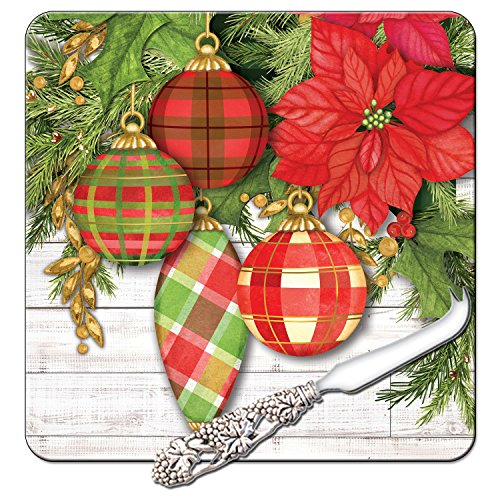 CounterArt 8-Inch Glass Cheese Serving Board with Cheese Knife, Poinsettia with Plaid Ornaments