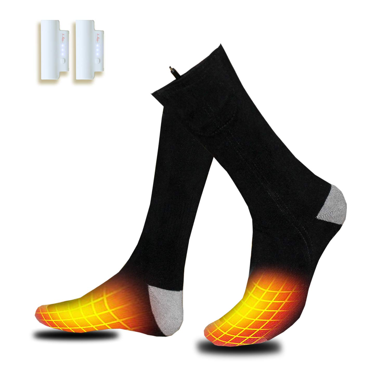 Heated Socks, Electric Footwear with Rehargeable Battery Cotton Heated Socks Keep Forefoot and Toes Warm Heating Times Last 5-9 Hours Suitable for Camping Hiking Fishing One Size Fit Most Feet by VALLEYWIND