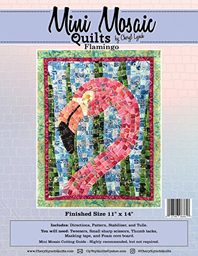 (Flamingo Mini Mosaic Quilts Tropical Bird Cheryl Lynch Pattern Stabilizer and Tulle)