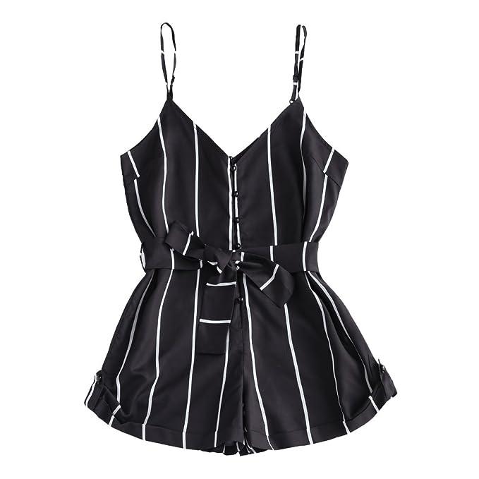 exceptional range of styles and colors luxury fashion hot-selling fashion Amazon.com: ZAFUL Women Cute Striped Romper V Neck Spaghetti ...