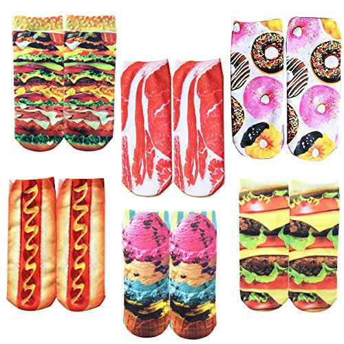 Womens Girls Novelty Fun Crazy 3D Food Ankle Socks, Cute Colorful Christmas Low Cut Socks 6 Value Pack -
