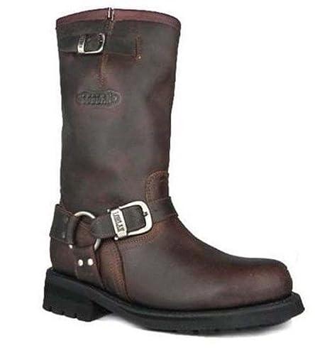 24847984078 Loblan 501 Brown Waxy Leather Mens Biker Bike Boots Classic Round Toe Hand  Made