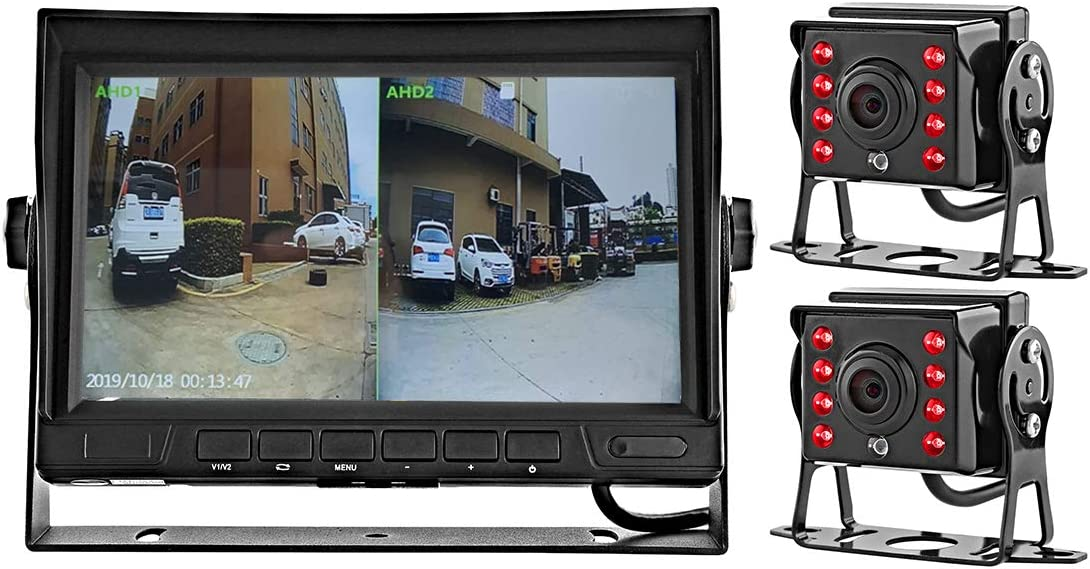 GreenYi-58 Wired AHD Truck Backup Camera Monitoring System, 7 Inch IPS DVR Dual Split Screen Monitor, 2PCS Mini IR Rear View Camera for Trailer Box Truck RV Camper Bus Van Motorhome 5th Wheel