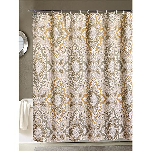 NEW LanMeng Fabric Shower Curtain Classic Paisley Design Grey Beige Light Bro