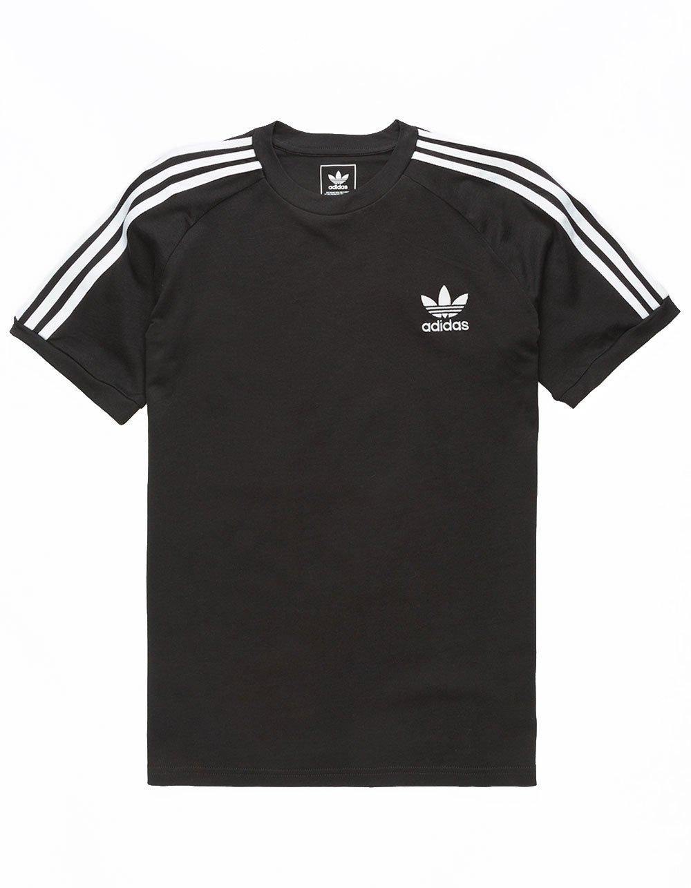 adidas Originals Boys' Big California Tee, Black/White, L