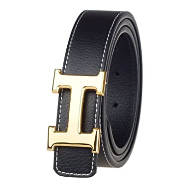 1abb2445f G-FOR Women H Reversible Leather Belt With Removable Buckle 30inch Black