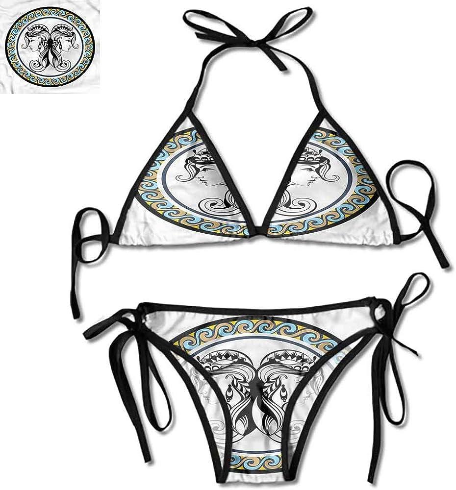 Bikini Set Zodiac Capricorn,Floral Pattern One Size Summer Swimsuit