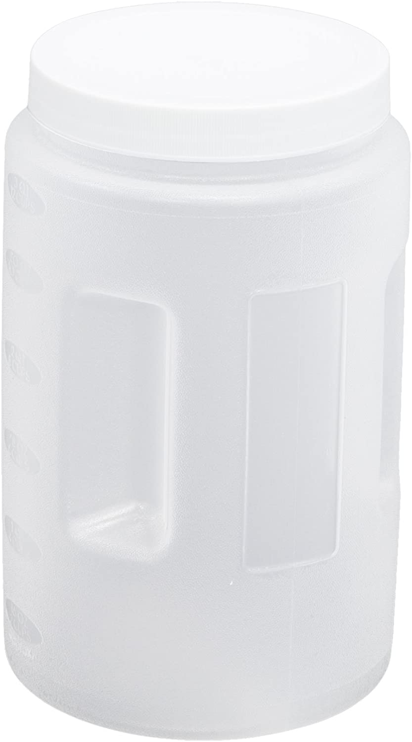 United Solutions Clear Two Quart Plastic Food Canister with White Lid- 2QT Plastic Food Storage Container in Clear and White Lid