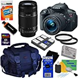 Canon EOS Rebel T5i 18.0 MP CMOS Digital SLR Camera with 18-55mm EF-S IS STM & EF-S 55-250mm f/4.0-5.6 IS II Telephoto Zoom Lenses - International Version (No Warranty) + 10pc Bundle 16GB Accessory Kit w/ HeroFiber Ultra Gentle Cleaning Cloth