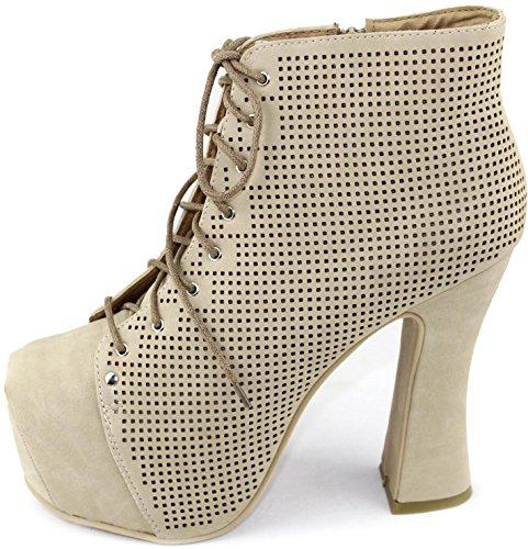 Up Women's Fashion Bumper Booties Leatherette Lueza Beige Shoes Lace 07 TwSTnrqFX