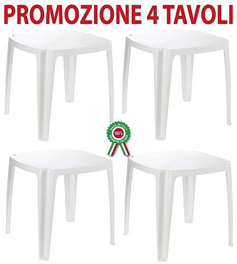 Tavoli In Plastica Impilabili.4 Pz Tavolo Tavolino Bianco Impilabile In Dura Resina Di Plastica 75