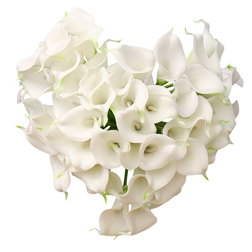 YILIYAJIA Calla Lily Bridal Wedding Party Decor Bouquet PVC Latex Real Touch Flower Artificial Flowers in Vase,Pack of 20 (White)