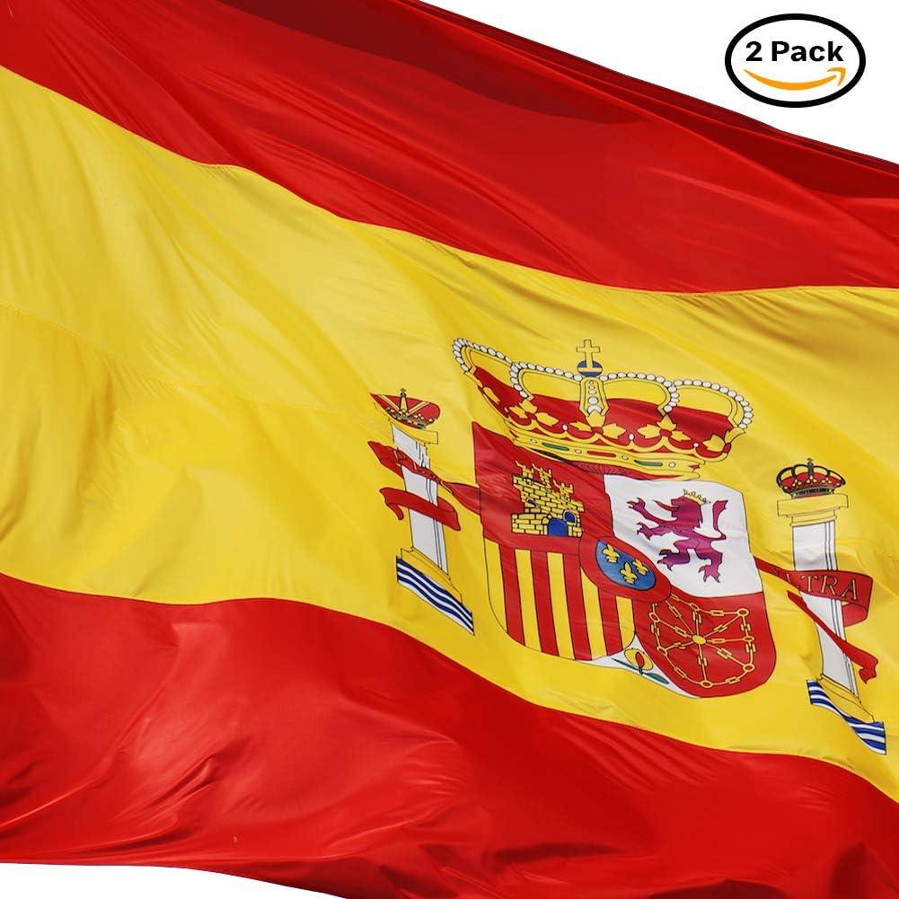 Loretta Bandera de España 90 x 150 cm. 2 Unidades - Bandera España Grande. Satén Bandera Resistente a la Intemperie. Bandera española 150x90 cm: Amazon.es: Jardín