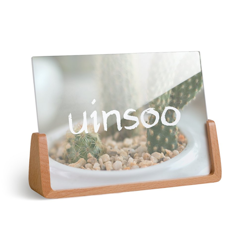 UINSOO 6×4 inch Modern U-Shape Picture Frame Made of Beech Wood&PMMA for Table Top Display Burlywood