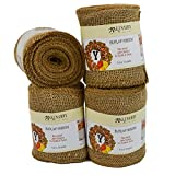 Burlap Ribbon, Wide Natural, 5 Inch x 10 Yard Loose Weave Roll for Crafts and Decor (4 Rolls)