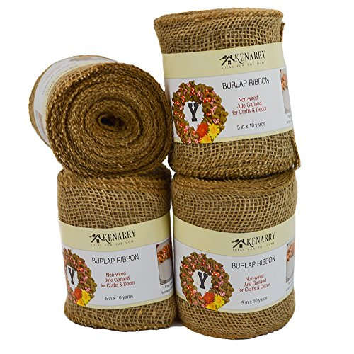 Burlap Ribbon, Wide Natural, 5 Inch x 10 Yard Loose Weave Roll for Crafts and Decor (4 Rolls) -
