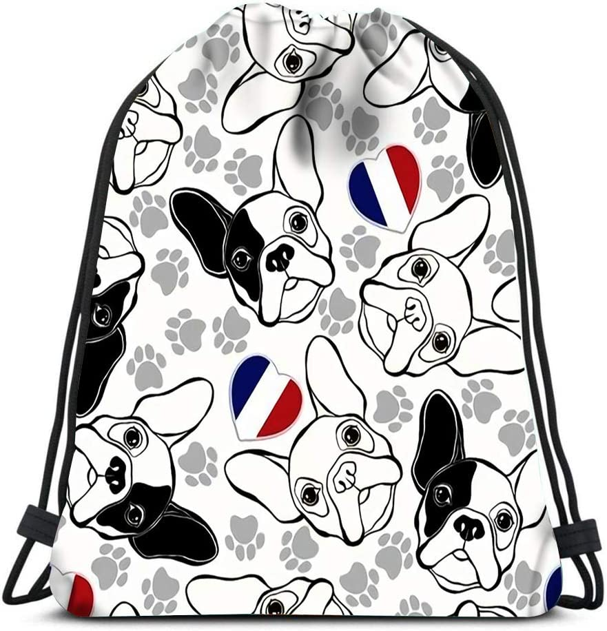 Drawstring Backpack French Bulldog Traces And Heart Flag Laundry Bag Gym Yoga Bag