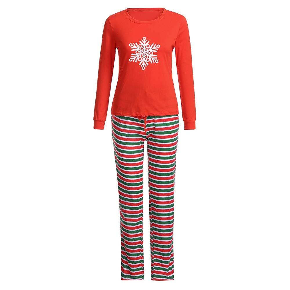 LIKESIDE✿Christmas Children Cartoon Snowflake Top+Stripe Pants Family Pajamas
