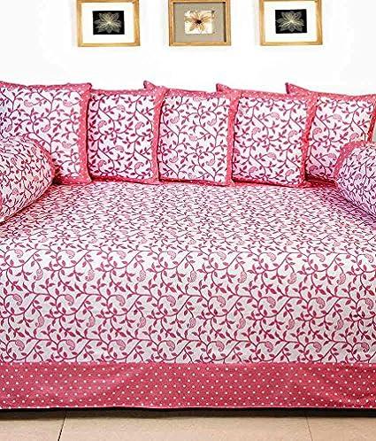 RED HOT Multicolor Cotton Diwan Set-8Pcs