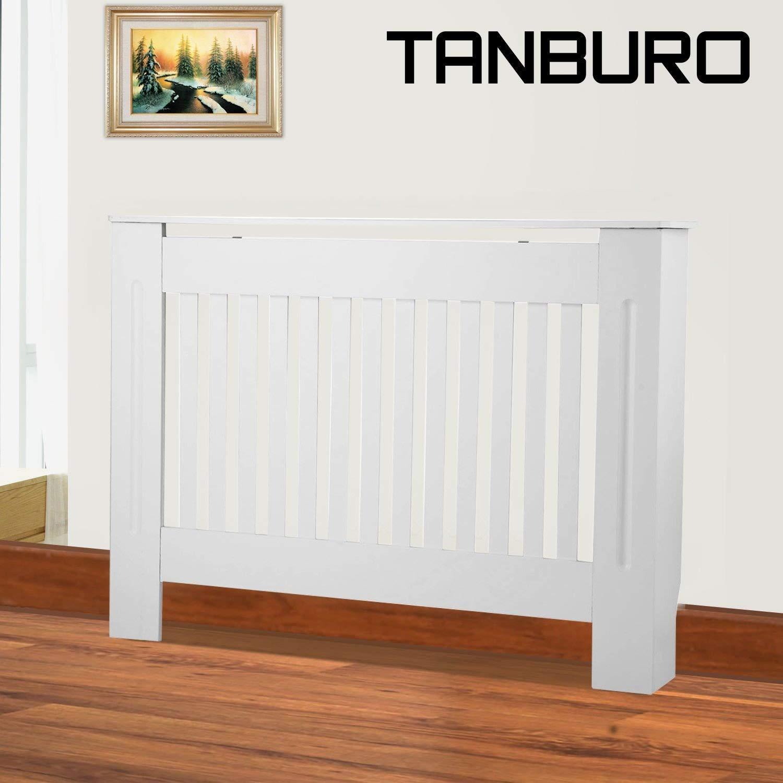 TANBURO Copritermosifone, Coperchio riscaldante, Coperchio radiatore, verniciata bianca opaca, 112 cm x 81,5 cm x 19 cm