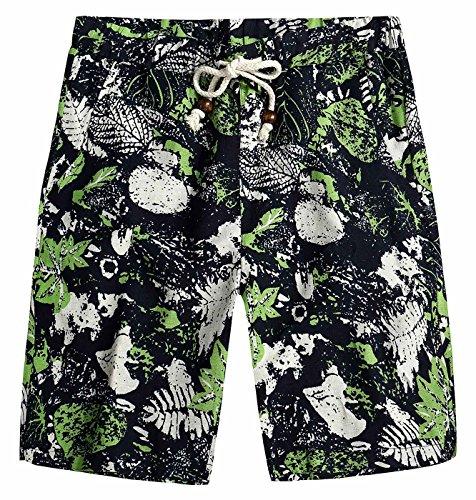 Men Aloha Shorts Linen Soft Comfortable Seamless Fashion Leaves Print Drawstring Bathing Suit Beach Trunk 38 Green ()